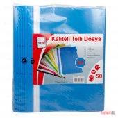 Telli Dosya Mavi Şeffaf 50 Adet Poşet Dosya Ve A4 Kağıt Evrak İçi