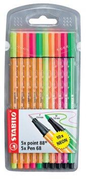 Stabilo İnce Point 88 + Kalın Pen 68 Neon 10lu...