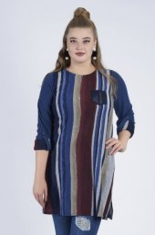 Femina Çizgili Büyük Beden Triko Bluz 39259 A Lacivert Gri Bordo Haki