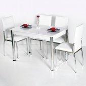 Evform Favorite 4 Kişilik Masa Sandalye Mutfak Masası Takımı Be
