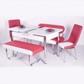 Kırmızı Beyaz Bank Takımı Açılır Masalı Sandalye Deri Mutfak Yeme