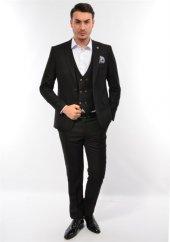 Erkek Slim Fit Yelekli Takım Elbise