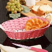 Hasır Örme Oval Ekmek Sepeti Pembe