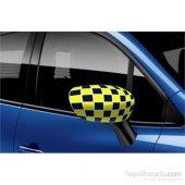 Oto Kulak Otomobil Ayna Kılıfı Sarı Lacivert Damalı