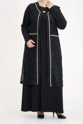 3b47049980bcc B40010 Büyük Beden Güpür Yelekli Sandy Elbise Siyah