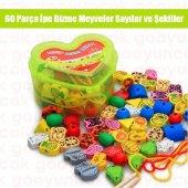 Ahşap 60parça İpe Dizme Oyunu Meyve+sayı+hayvanlar Eğitici Ve Öğretici Oyuncak Algı Ve Zeka Oyunları