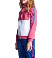 19b 3131 Pembe Beyaz Çocuk Fermuarlı Sweatshirt
