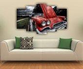 Kırmızı Klasik Araba Dekoratif 5 Parça Mdf Tablo