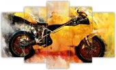 Sarı Motorsiklet Sulu Boya Dekoratif 5 Parça Mdf Tablo