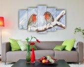 Yağlı Boya Kuş Dekoratif 5 Parça Mdf Tablo