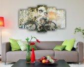 Bisiklet Ve Çocuklar Duvar Sanatı Dekoratif 5 Parça Mdf Tablo