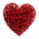 Sevgililer Gününe Özel Dekoratif Hasır Kalp Süs Kırmızı