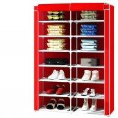 2 Bölmeli Metal Profilli Bez Dolap Ayakkabılık Kırmızı