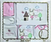 Hastane Çıkışı Zıbın Seti Esa Baby 10 Lu Tavşan İşlemeli