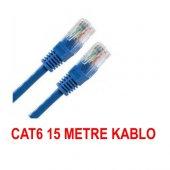 Cat6 Kablosu Ethernet 15 Metre İnternet Modem Lan Rj45 Uçları Çak