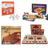 Kutu Oyunları Ahşap Koridor Katamino + Mangal + Hikaye Küpleri 4 Lü Oyun Seti Eğitici Strateji Oyun