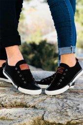 Unısex Cift Kombini Siyah Keten Günlük Spor Ayakkabı