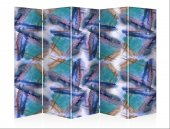 Mavi Pencereler Beş Kanat Kanvas Paravan