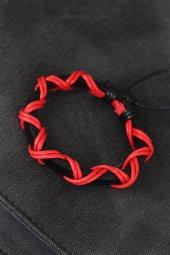Kırmızı İpli Siyah Renk Deri Erkek Bileklik