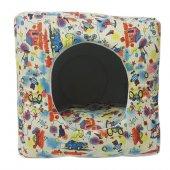 3 Fonksiyonlu Pati Desenli Büyük Kedi & Köpek Yatağı (Karışık Renk)