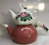 Laviva Rosa Emaye Porselen Pastel Çaydanlık