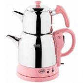 özkent Kk661 Semaver Menekşe Çaycı Elektrikli Çay Makinesi Kettle Çaydanlık Çay Pembe