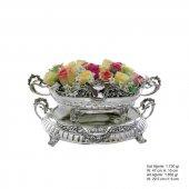 çiçekli Gümüş Jardinyer