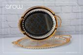 Oval İkili(2li) Gümüş Tepsi Arow Lüx Altın İşlemeli Oval Tepsi