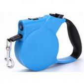 ışıklı Makaralı Otomatik Köpek Tasması 3 Metre Mavi