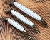 128mm Gerçek Porselen Kulp Eskitme Antik Dolap Mobilya Kulpu +vid