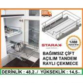 Starax Bağımsız Çift Açılım Raylı Çekmece Mutfak Dolapiçi 46 48cm