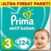 Prima Bebek Bezi Aktif Bebek 3 Beden Midi Ultra Fırsat Paketi 124