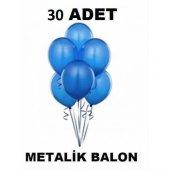 30 Adet Metalik Sedefli Mavi Balon 1.kalite