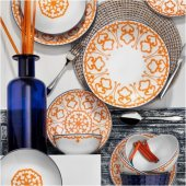 Kütahya Porselen 24 Parça 6 Kişilik Yemek Takımı Turuncu 5966 19 Desen