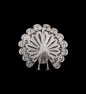 Tavus Kuşu İşlemeli Telkari Gümüş Broş