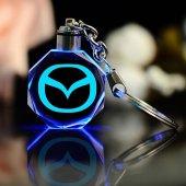 Mazda Logolu Led Işıklı 3d Kristal Led Araba Anahtarlık