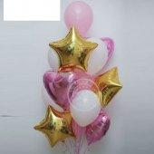 Pembe Beyaz Gold Balon Seti