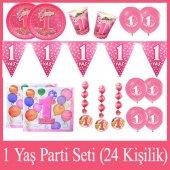 24 Kişilik 1 Yaş Prenses Parti Seti Kız 1 Yaş Doğum Günü Seti
