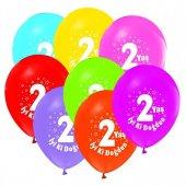 2 Yaş Baskılı Karışık Renk Balon 7 Adet