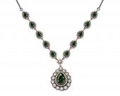 Yeşil Beyaz Zirkon Taşlı Otantik 925 Ayar Gümüş Bayan Kolye