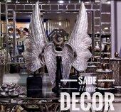 Sadehomedecor Lucky Art Gümüş Renk Melek Kanat Dekor 68cm 41cm (3 Lü Set Takım)