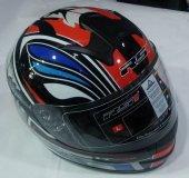Motosiklet Kaskı Rs1 Full Face Siyah Kırmızı Mavi Large Ff 858 T 7