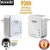 Tenda P200 Homeplug 1port Kablolu 200mbps Powerline Adaptör Kit
