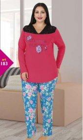 Lady Yakası Dantelli Büyük Beden Pijama Tk.