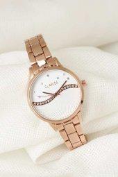 Rose Renk Metal Kordonlu Beyaz Renk Zirkon Taşlı İç Tasarımlı Clariss Marka Bayan Kol Saati