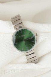 Silver Renk Metal Kordonlu Yeni Sezon Yeşil Renk İç Tasarımlı Bayan Clariss Marka Kol Saati