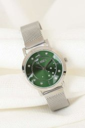 Silver Renk Kaplama Hasır Metal Kordonlu Yeşil İç Tasarımlı Metal Kasa Clariss Marka Bayan Saat