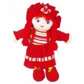 Büyük Boy 55 Cm Şapkalı Örgü Saçlı Bez Bebek Kırmızı Elbiseli