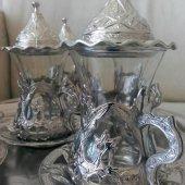 Osmanlı Motifli Çay Bardak Seti Lale Desenli Gümüş Renk