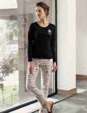 şahinler Baskılı Bayan Pijama Takımı Siyah Mbp24308 1